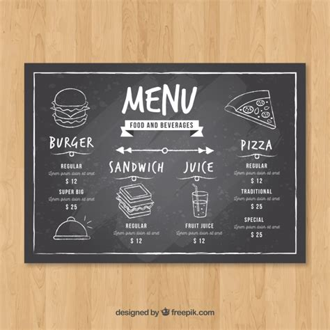 horizontal menu templates free horizontal restaurant menu template in blackboard style