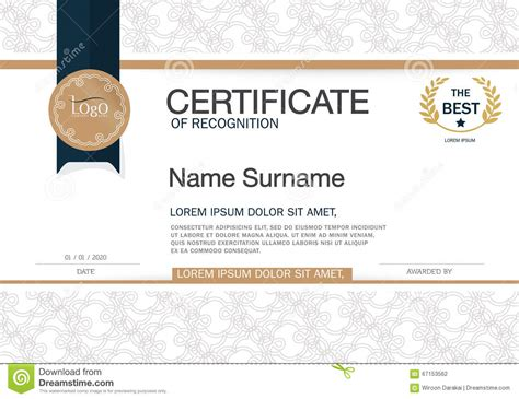 certificate of achievement frame design template layout