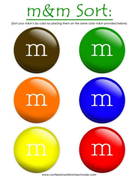 m and m colors sorting by color kindergarten math sorting