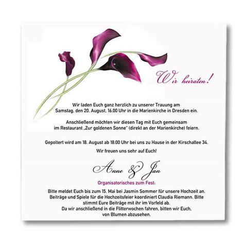 Hochzeitseinladung Mustertext by Hochzeitseinladung Quot Calla Quot Mit Korkenglas Weddix De