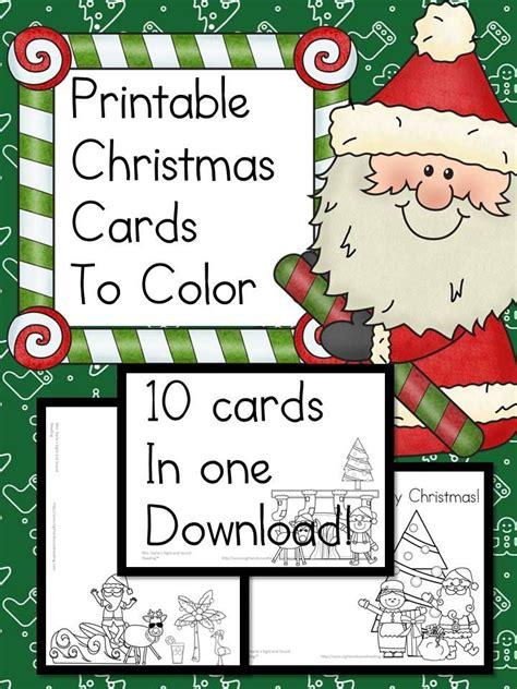 printable christmas cards  color fun craft  kids