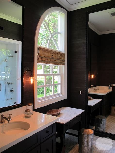 grasscloth wallpaper in bathroom black grasscloth wallpaper contemporary bathroom interiors