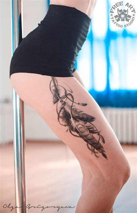 pretty feathers thigh tattoo best tattoo design ideas