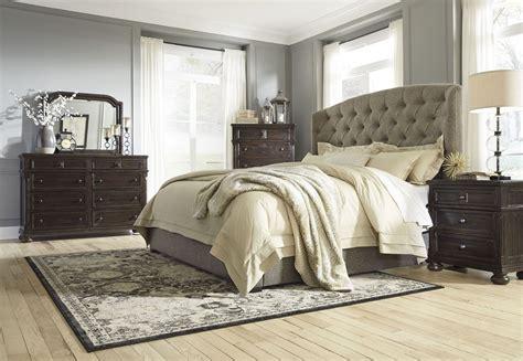 gerlane graphite upholstered panel bedroom set    ashley