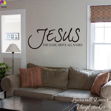 Jesus Home Decor Jesus Name Above All Names Saying Wall Sticker Living Room Bedroom Bible Verse Quote Wall Decal