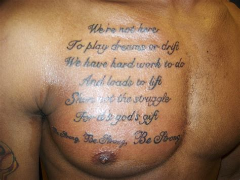 chest quote tattoos chest tattoos and designs page 492