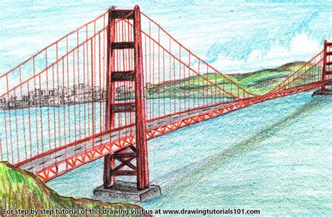 what color is the golden gate bridge the golden gate bridge colored pencils drawing the