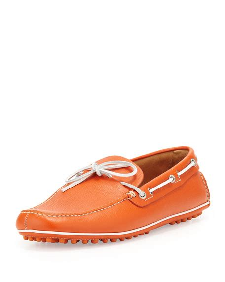 car shoe slip on driving shoe orange