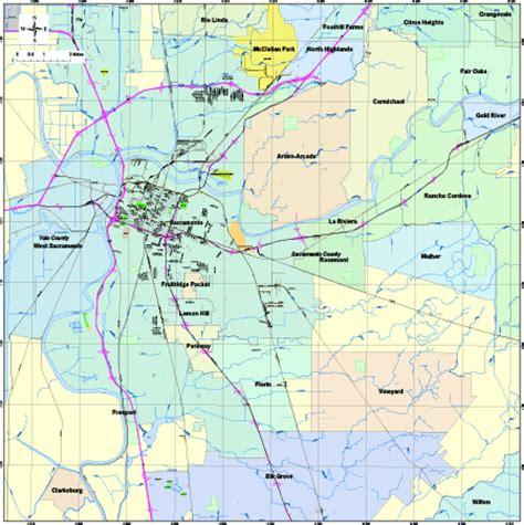 zip code maps sacramento editable sacramento ca city map with roads highways