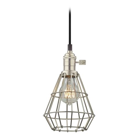 Retro Hoyt Satin Nickel Mini Pendant Light With Cage Ebay Pendant Light Cage