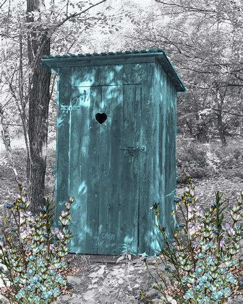 teal gray wall art photo print vintage outhouse home bath