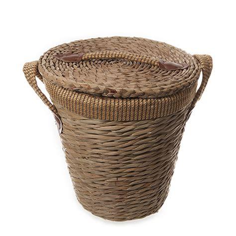 cesta vimini cesta bagno contenitore vimini tonda con manico coperchio