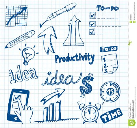doodle productivity productivity doodles royalty free stock photos image
