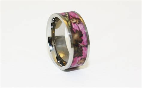 pink camo ring titanium camouflage wedding band