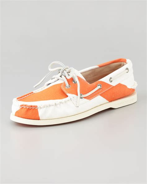 sperry top sider handpainted canvas boat shoe in orange 7