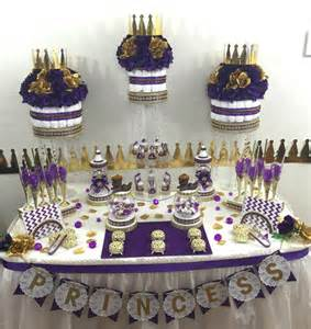 baby shower themes for purple purple and gold prince princess buffet cake