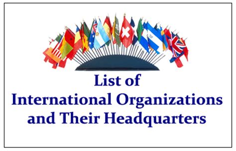 important international organization and their headquarter