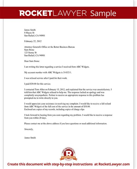 Complaint Letter Government Office Complaint Letter To A Bbb Or Attorney General