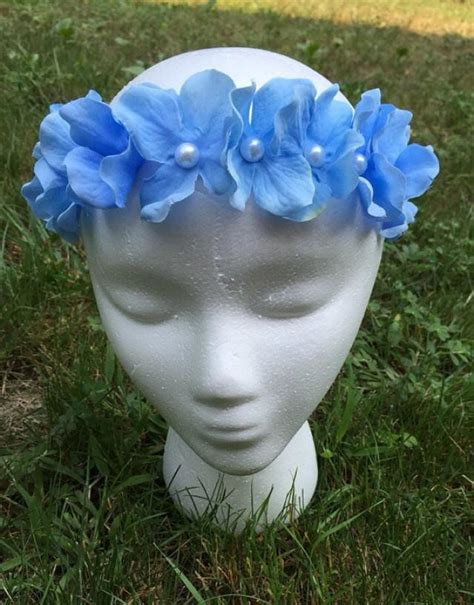 Hairband With Crown A42777 Blue light blue hydrangea headband flower crown light blue crown light blue flower crown
