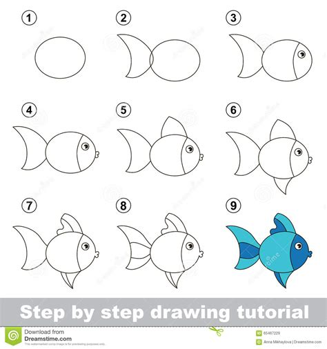 Easy Kid Drawings Step By Step by Drawing Tutorial How To Draw A Fish Stock Vector
