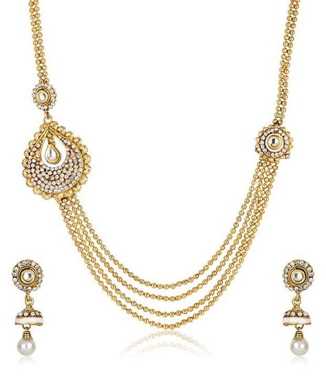 48 on jewar gold plated charming necklace set with