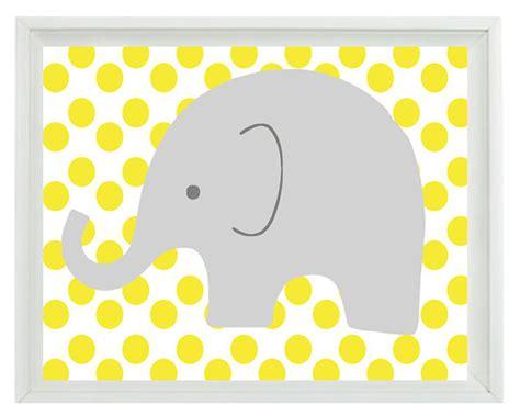 printable elephant nursery wall art elephant nursery wall art print yellow gray decor polka dots