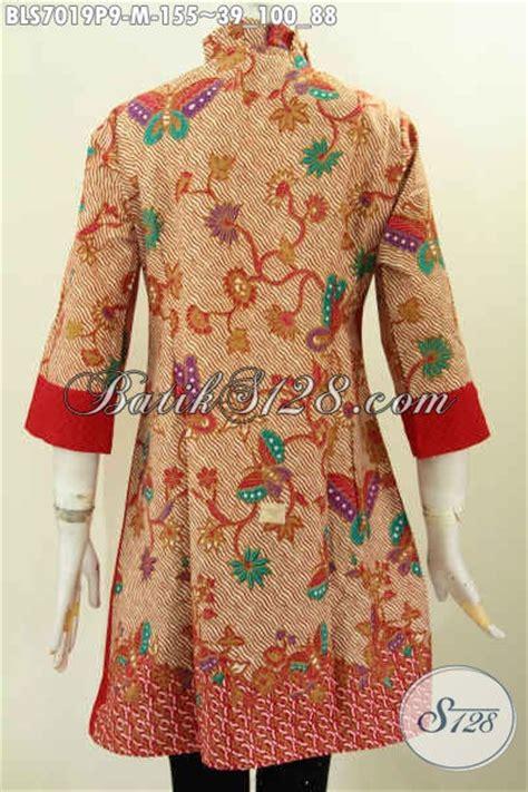 Blouse Atasan Baju Seragam Batik Wanita 1580 Daun Big Size 100 gambar harga baju batik atasan dengan blus batik