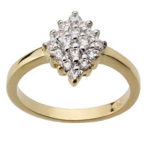 18ct Yellow Gold Plated Cluster Engagement or Dress Ring