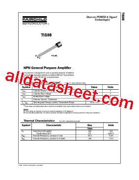 bc547 transistor fairchild tis98 データシート pdf fairchild semiconductor