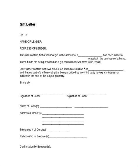 Letter Of Explanation Of Relationship For Mortgage Sle Gift Letters 41 Exles In Pdf Word