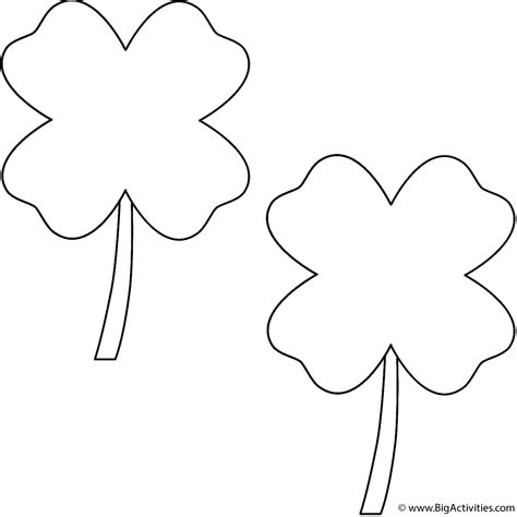 coloring page of four leaf clover four leaf clovers 2 clovers coloring page st patrick
