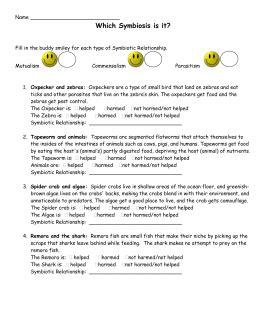 Symbiotic Relationships Worksheet Buddies