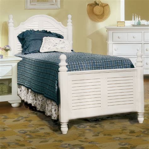 twin bed white wood cottage traditions twin white wood louvered poster bed