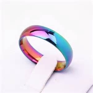 colorful rings rainbow colorful ring titanium steel wedding