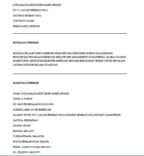 cara membuat resume praktikal mamaalynn contoh resume untuk praktikal
