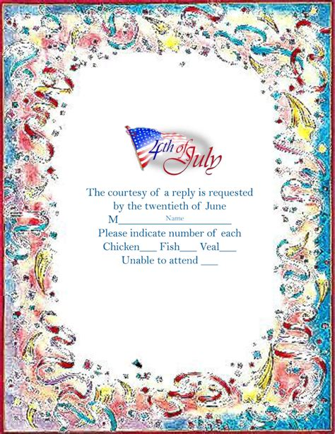 4th Of July Greeting Card Templates by 4th Of July Response Cards Free Templates Clip And