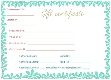 floral gift certificate template flower border gift certificate template