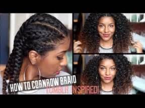 how to cornrow braid natural hair| defined curls! youtube
