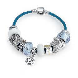 Bling jewelry white christmas sterling blue leather charm bracelet
