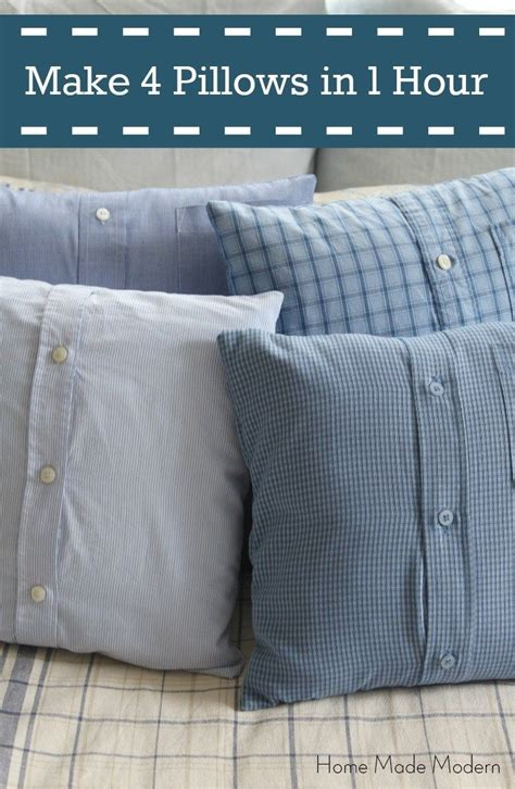 make 4 shirt pillows from s shirts in less than 1 hour sewing projects easy and pillows