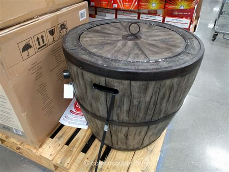 global outdoors faux wood table global outdoors wine barrel gas table costco