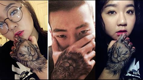 lion hand tattoo with eyeliners jay park inspired