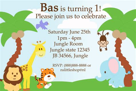 jungle invitation template nslittleshop decorations and more jungle birthday