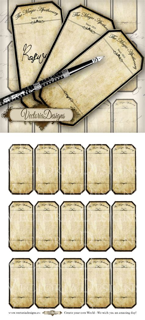 printable blank apothecary labels by vectoriadesigns on