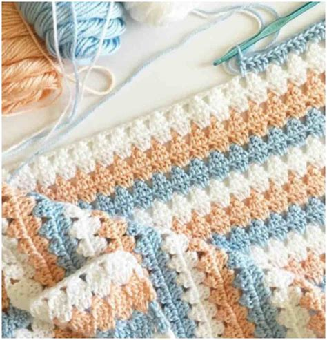 pattern crochet new new peach blue granny crochet blanket free pattern diy