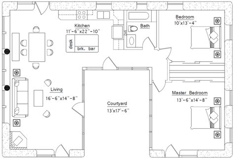 u shaped houses 2 bedroom courtyard earthbag house plans