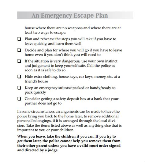 domestic violence safety plan template 11 safety plan templates free sles exles format