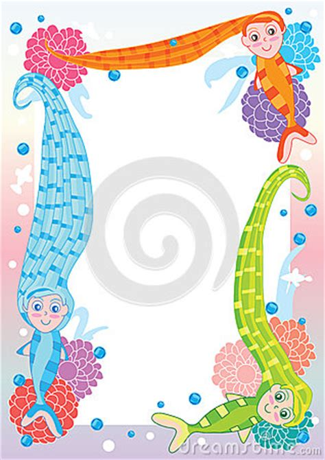 mermaid long hair frameeps royalty  stock image