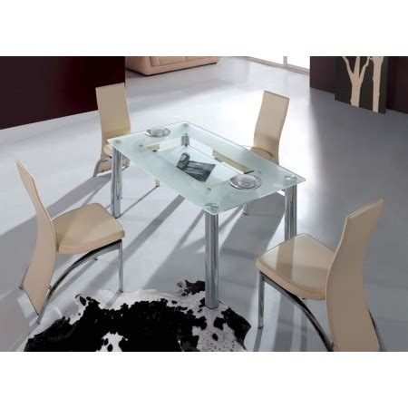 Frosted Glass Dining Table And Chairs Big Compact Transparent Glass Dining Table And 4 D212 Chairs