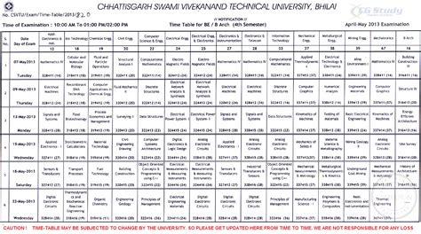 Csvtu Syllabus Mba 3rd Sem by Csvtu Be Time Table April May 2013 Cg Study